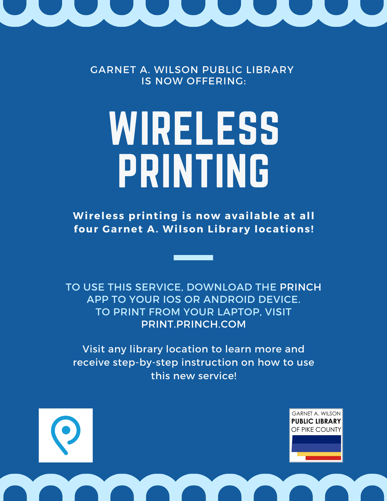 A flyer listing the information for the new wireless printing service at the library.